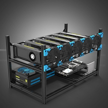 Aluminum 6 GPU Mining Case Rig Open Air Frame For ETH/ETC/ ZCash -